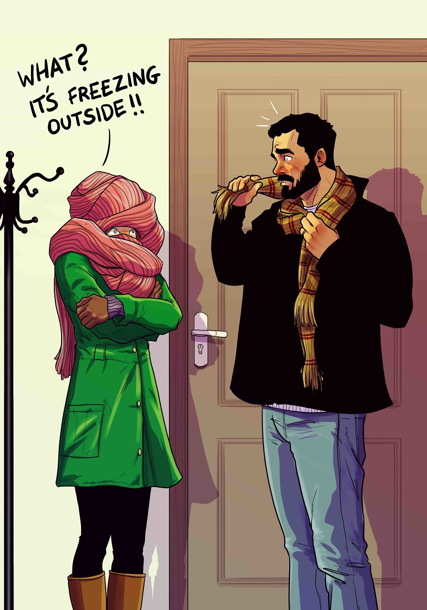 Man Draws Funny Comics Illustrating Everyday Life With His Partner - The Scarf