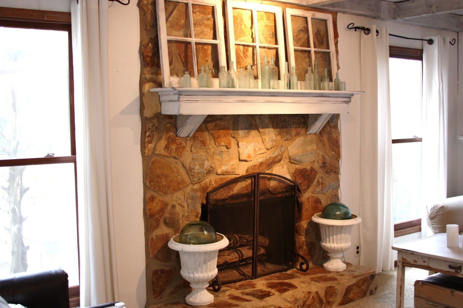 Whitewash Fireplace Before And After Erin S Art And Gardens Painted Stone Fireplace Before And After