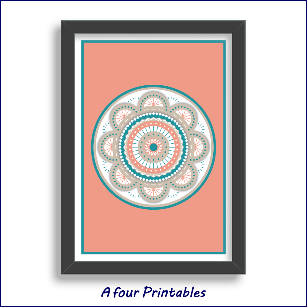 A modern flower mandala design in dark peach, dark cyan and light taupe for you to print and frame at home.