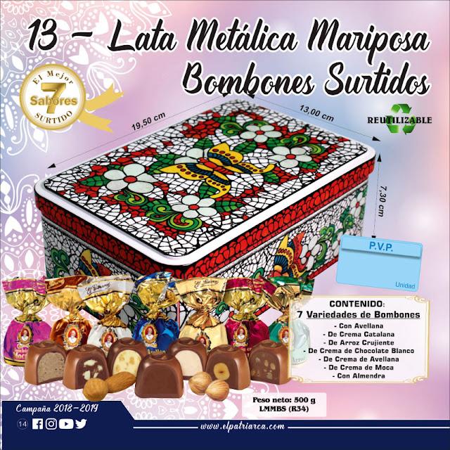 nº13  Lata Metálica Mariposa Bombones Surtidos El Patriarca 500 g - Comercial H. Martín sa