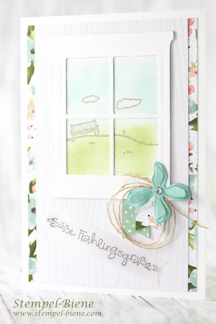 Stampin Up Happy Home, Stampinup Frühlingskarte; Stampin up Botanischer Garten; Match the Sketch; Stempel-Biene; Stempelparty stampin up; Stampinup bestellen