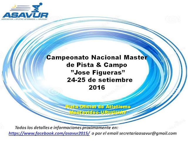 Pista - Torneo de atletismo master José Figueras (Montevideo, 24y25/sep/2016)