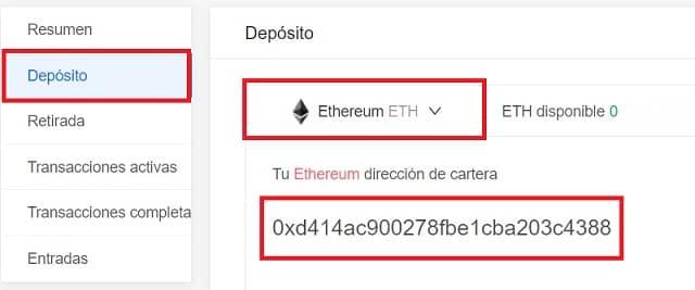 depositar ethereum o bitcoin en Kucoin
