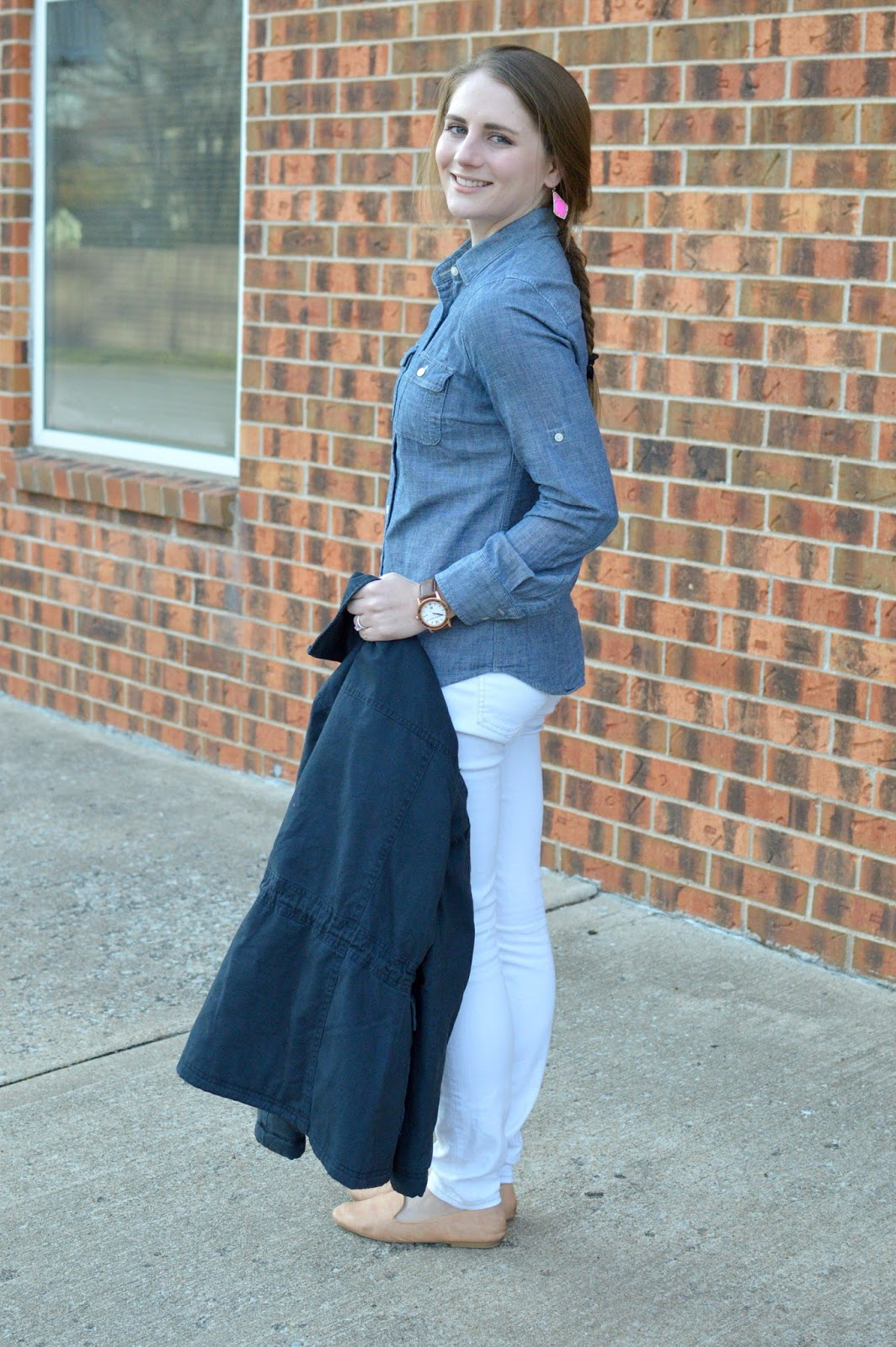 chambray top with white skinny jeans and a navy utility jacket for spring