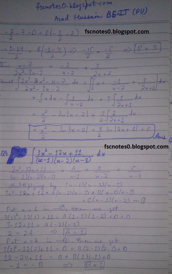 FSc ICS Notes Math Part 2 Chapter 3 Integration Exercise 3.5 question 1 - 11 by Asad Hussain 6