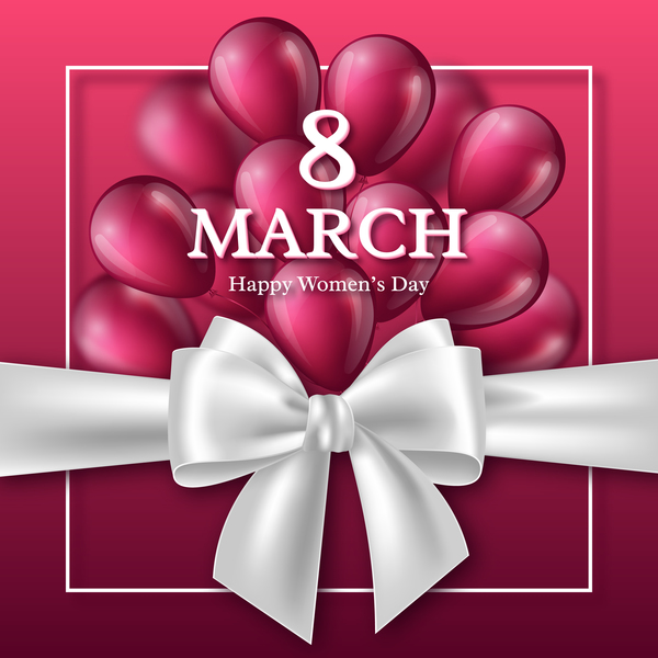 March 8 women day card with balloon and ribbon bow free vector