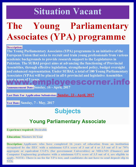 Jobs in The Young Parliamentary Associates program Pakistan