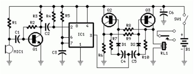 skema rangkaian sakelar tepuk ic7555
