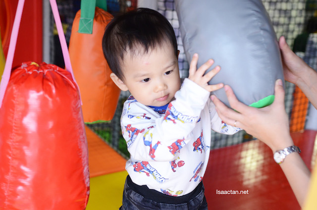 Karlson enjoying one of the play sections inside