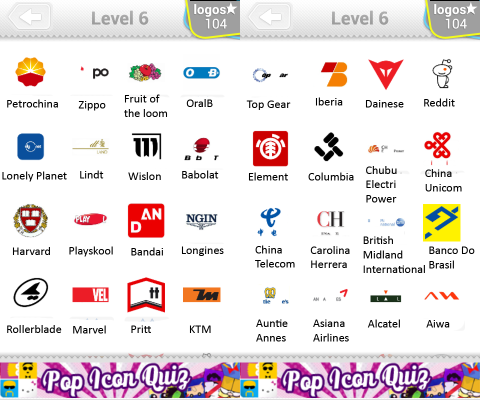 Logo Quiz Level 6 Answers by bubble quiz games Answers ...