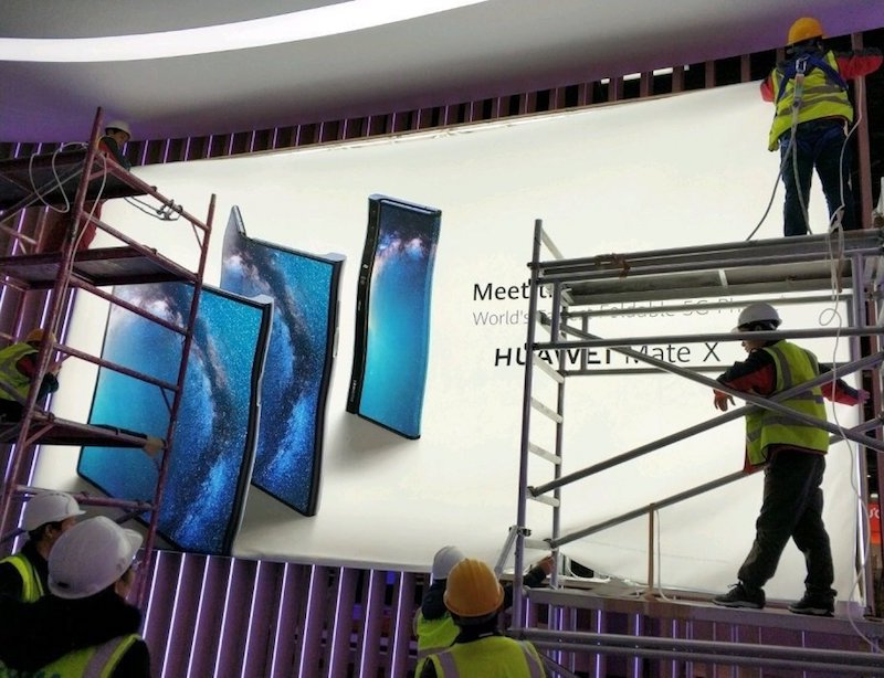 Huawei Mate X foldable phone seen on an official poster