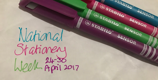 4 Stabilo sensor pens in purple, green pink and blue with text saying National Stationery Week 24-30 April 2017
