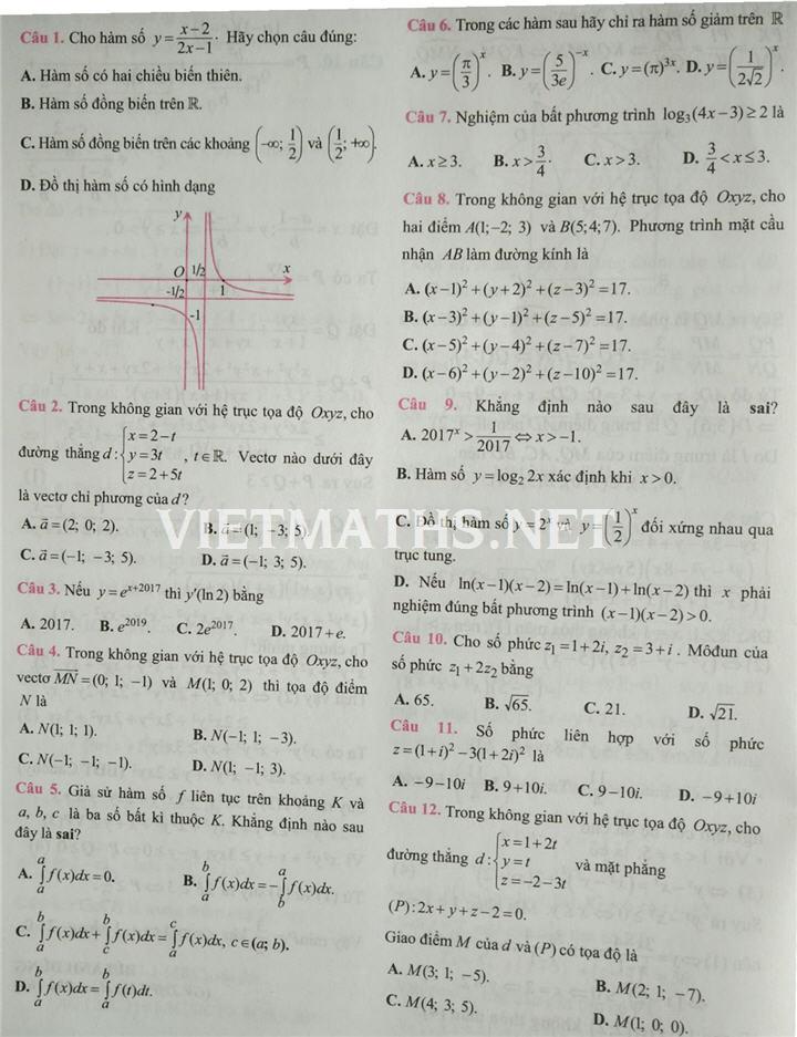 tìm hiểu đề thi thử toán dạng trắc nghiệm 2017 kiểu mới