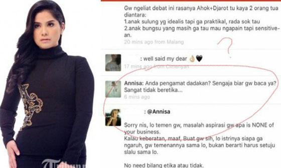 Heboh Screenshot Komentar Emosi Annisa Pohan istri cagub DKI dan Temannya