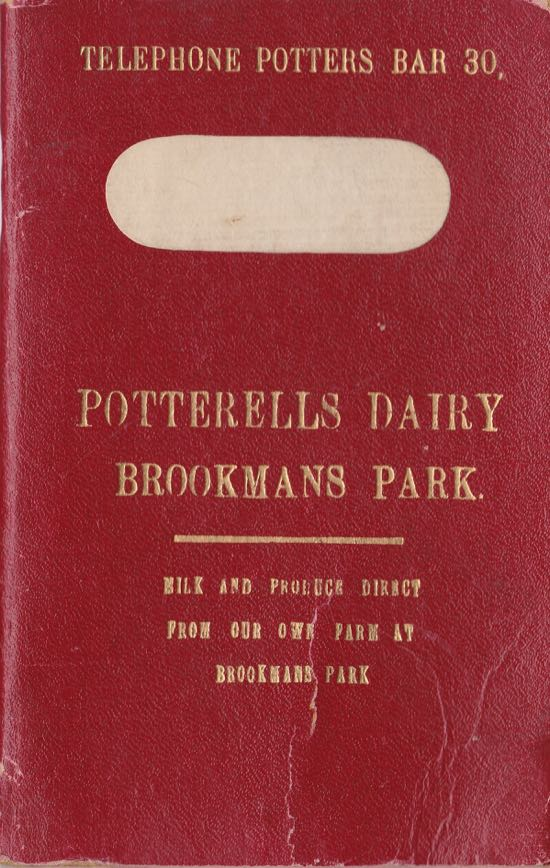 Image: Order book from Potterells Dairy showing telephone number 30 - c1920 Image courtesy of the Peter Miller Collection