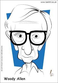 Woody Allen caricature by Ian Davy Brown