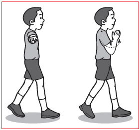 Gerakan Berjalan dengan Ayunan Lengan ke Samping Kemudian Diayun ke Depan dengan Tepuk Tangan