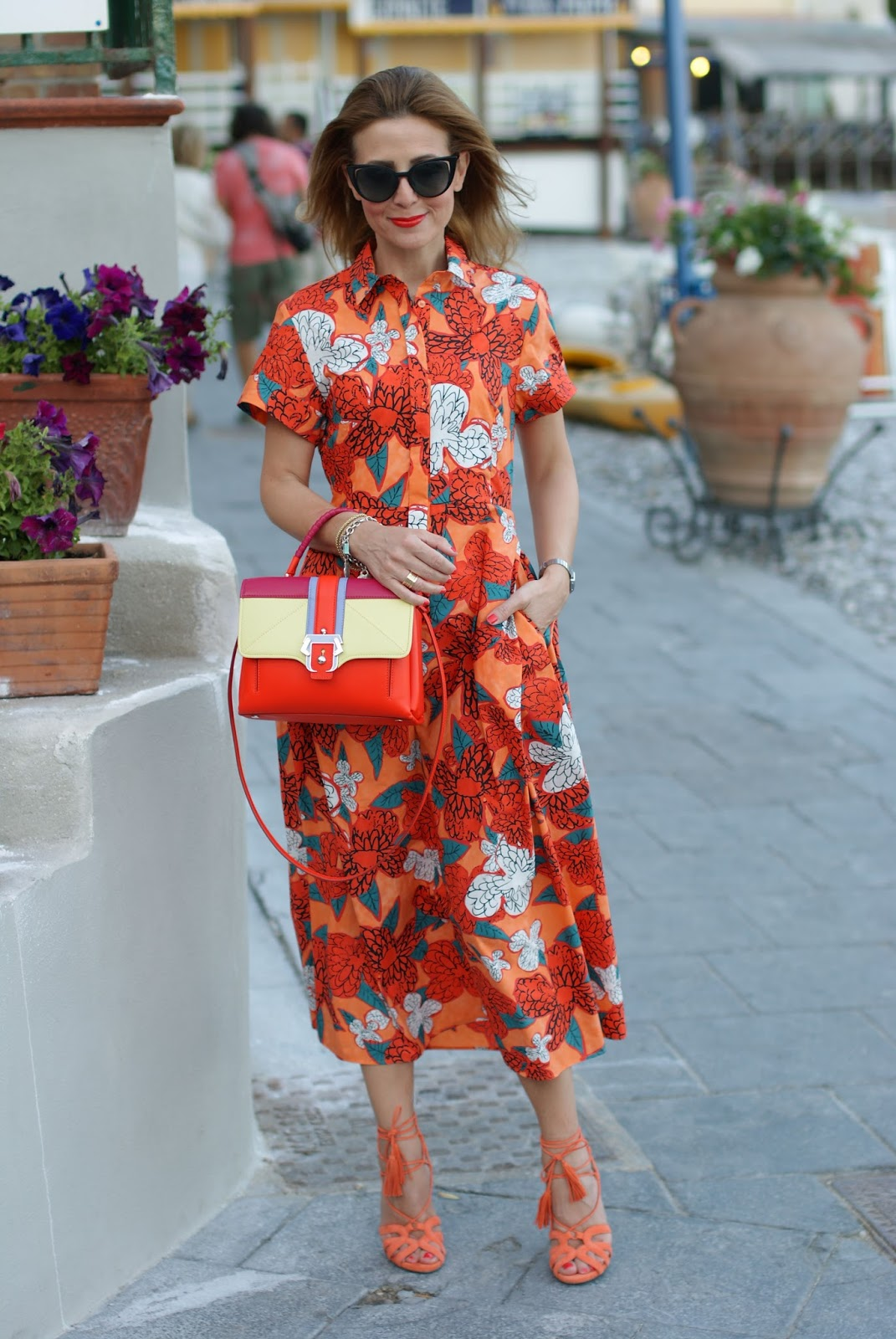 Ferragosto last minute with orange Max & Co floral maxi dress and Paula Cademartori bag on Fashion and Cookies fashion blog, fashion blogger style