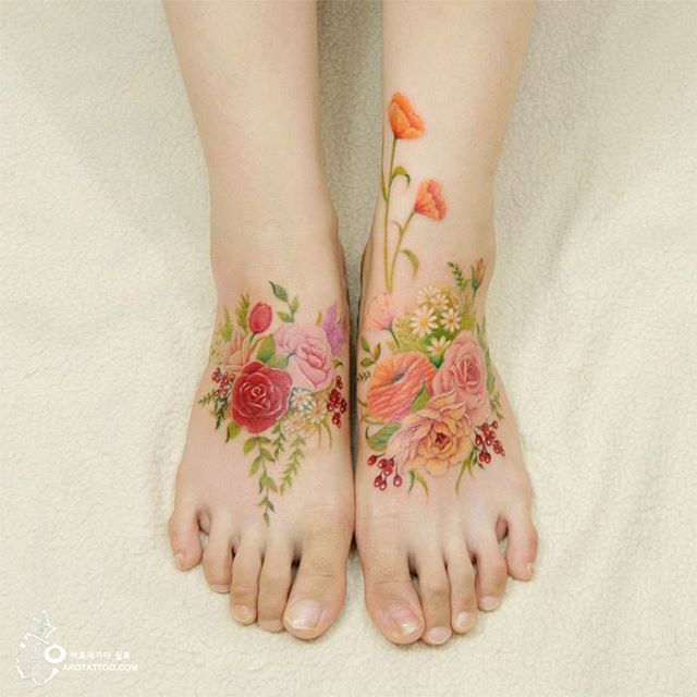 c22e3000a1af9 Stunning Floral Tattoos Imitation, Mimic Fairy Watercolor Paintings on Skin  by Aro Tattoo