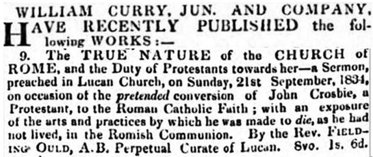 Death of John Crosbie, Lucan, 1834