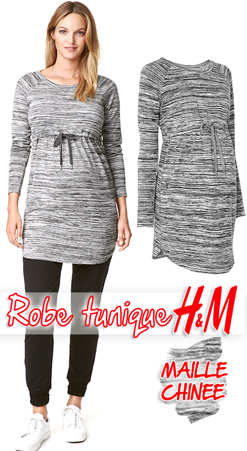 Robe tunique maternité en jersey gris chiné H&M