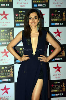 Taapsee Pannu in Stunning Deep Neck Leg Split Black Gown Beautiful Pics