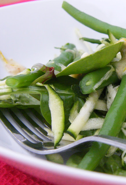 close up of green bean salad