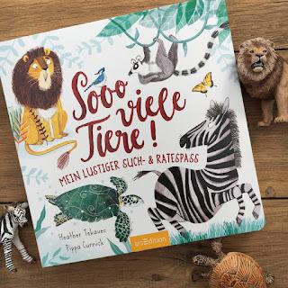 """""""Sooo viele Tiere"""", Verlag ArsEdition, Pappbilderbuch ab 2 Jahren/24Monaten, Rezension auf Kinderbuchblog Familienbücherei"""