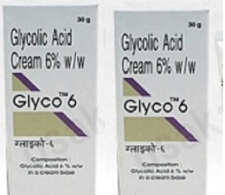 glycolic acid creams available in india are Glyco 6 (6% glycolic acid),