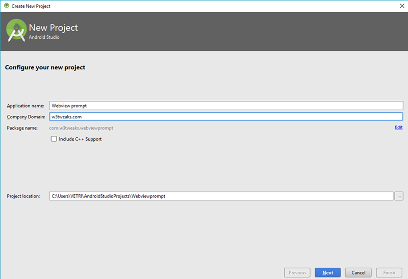 Android WebView application Prompt | Android Studio 1