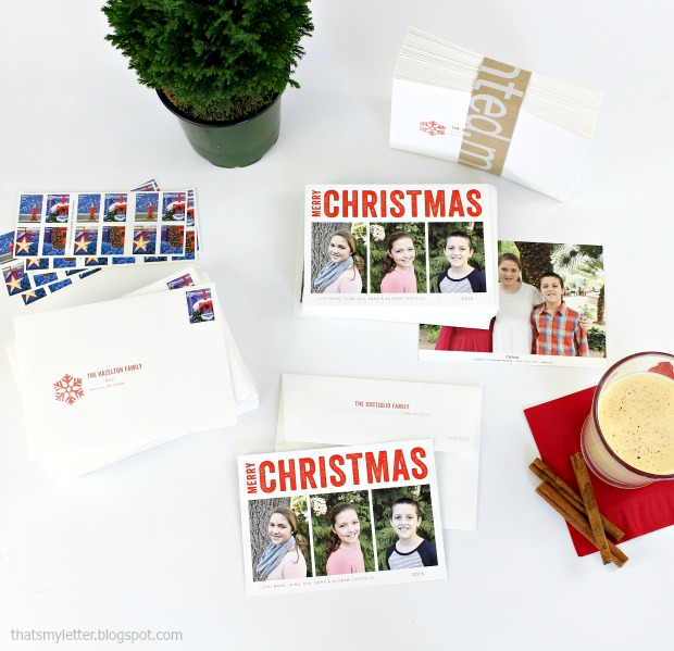 Minted merry triptych personalized holiday card