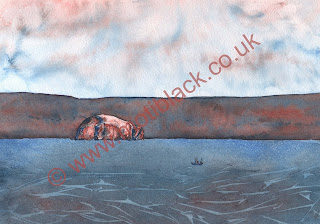 A watercolour painting of Bass Rock