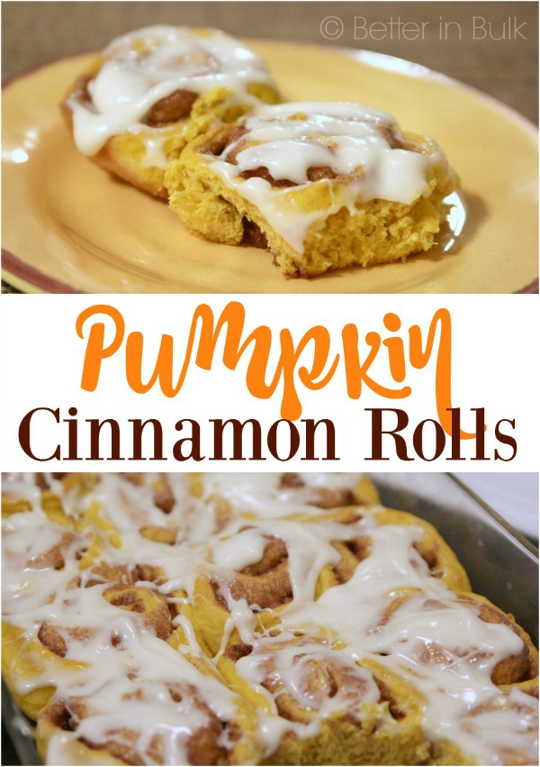 Pumpkin Cinnamon Rolls with Cream Cheese Frosting from Food Fun Family