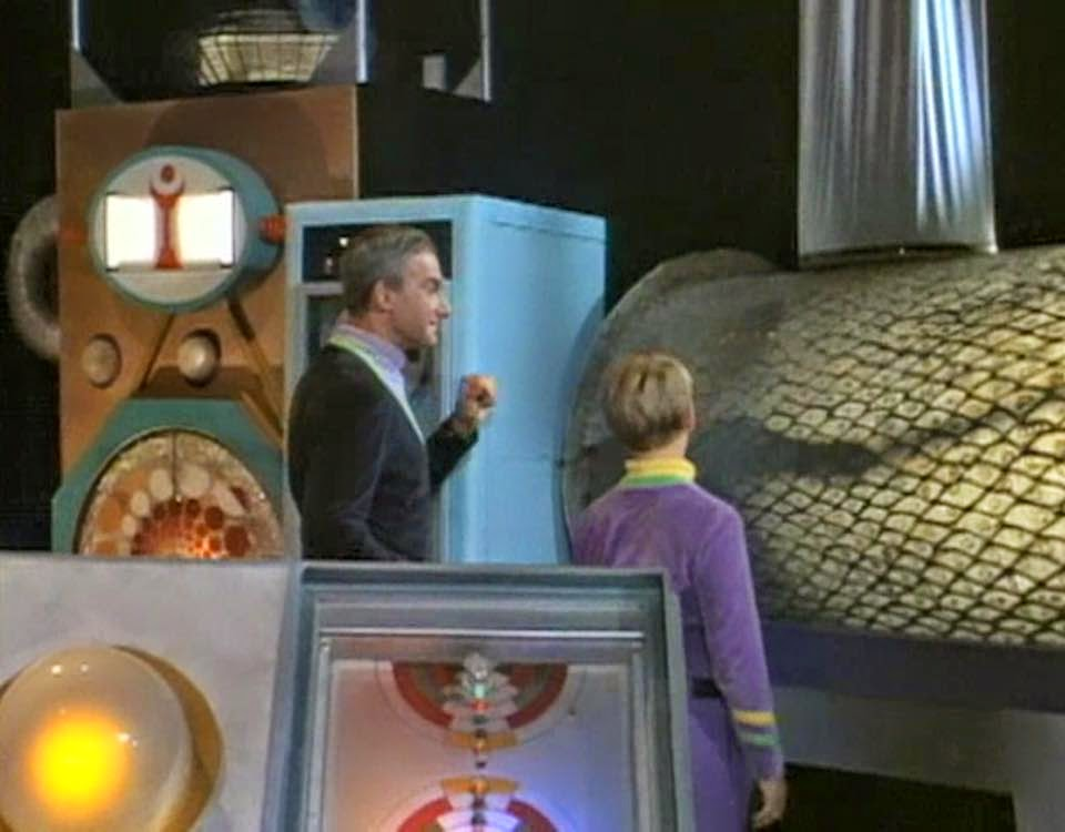 Jonathan Harris and Bill Mumy exploring inside the Robot during Lost in Space randommusings.filminspector.com