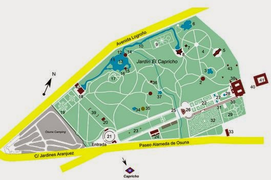 mapa del parque del capricho madrid