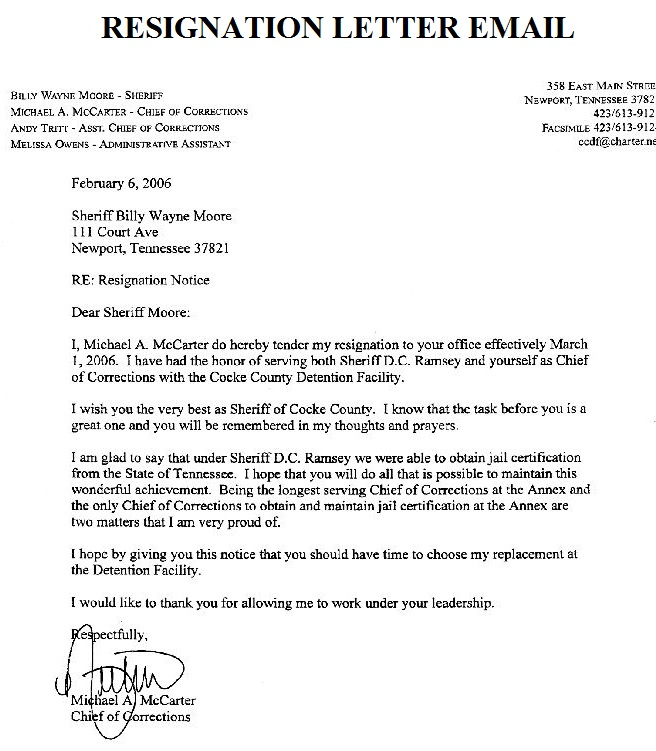 sample resignation letters letter of effective immediately resignation template 1600