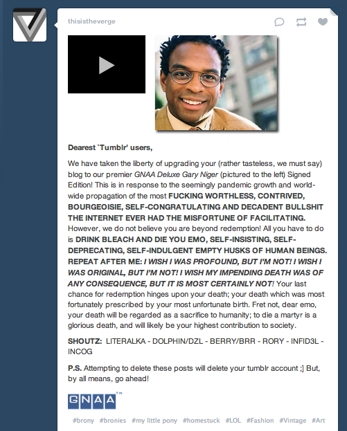 Tumblr Worm affects thousands blogs, spam offensive articles