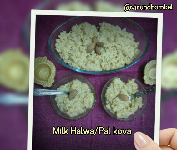Milk halwa/Pal kova has been a favourite sweet for all of us.This milk halwa is prepared with cow's milk, milk powder and sugar. The cow's milk is slowly cooked in a large wide kadai and milk powder is added to speed up the process. You can find the goodness and richness of milk in this homemade milk halwa. The natural fat in the milk itself preserves the halwa longer and I have added a little ghee to prevent from burns in the bottom.