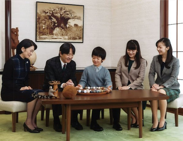 Prince Akishino, Princess Kiko, Prince Hisahito, Princess Mako of Japan  and Princess Kako of Japan. Princess Mako and Princess Kako diamond Tiara, Diamond necklace
