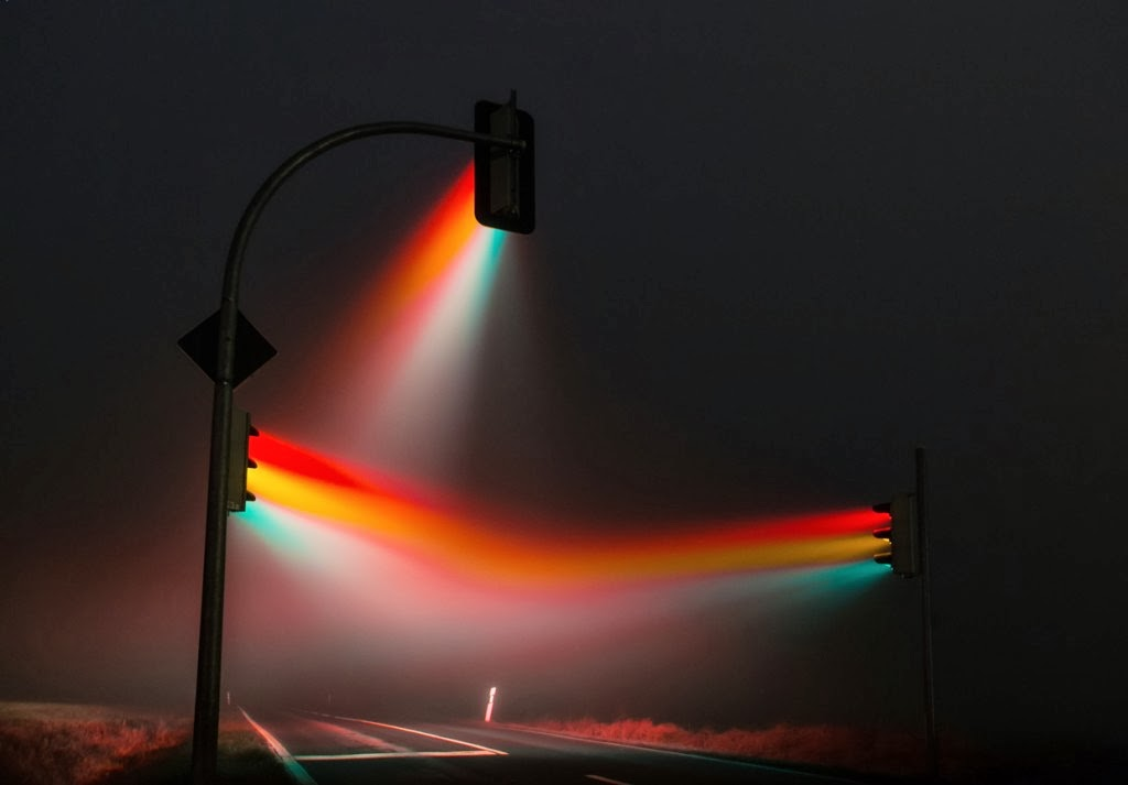 Traffic Lights Turn Fog into Colorful Visions