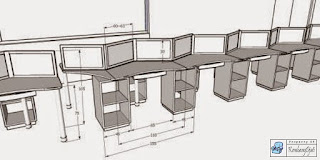 Kontraktor Interior - Meja Staff Zig-Zag
