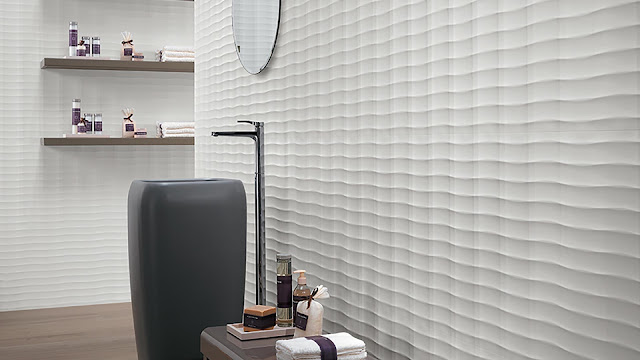 Tile design on wall with flexible patterns surfaces