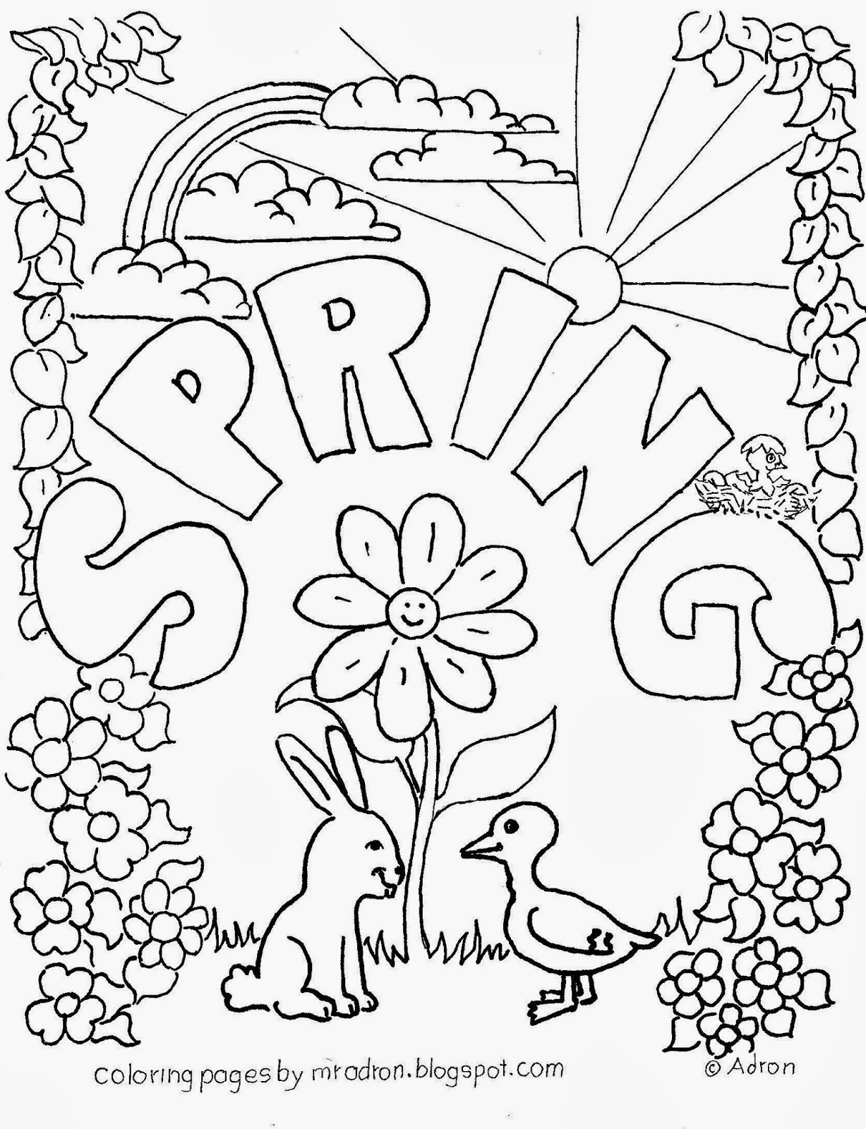 An illustration of Spring to print and color.