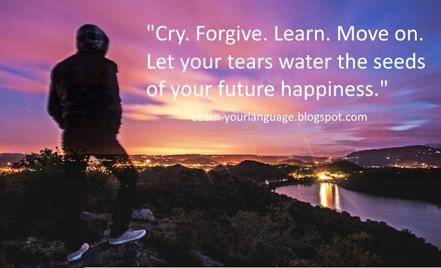 Cry. Forgive. Learn. Move on. Let your tears water the seeds of your future happiness
