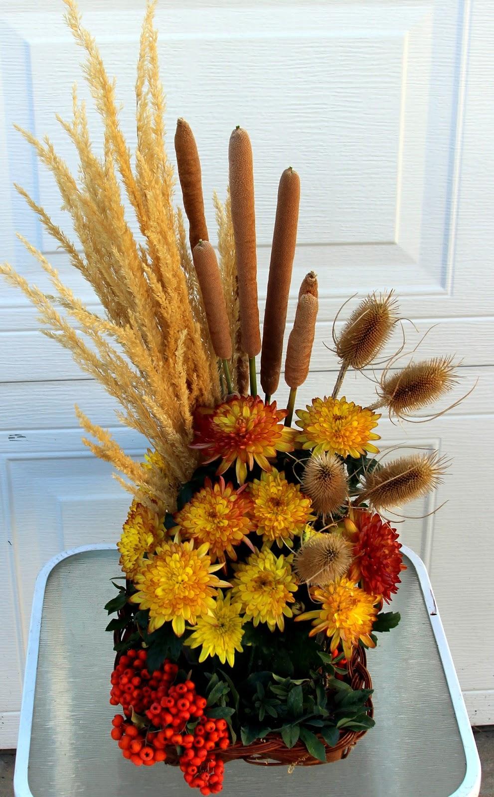 Thanksgiving Arrangements Using Grasses Cattails