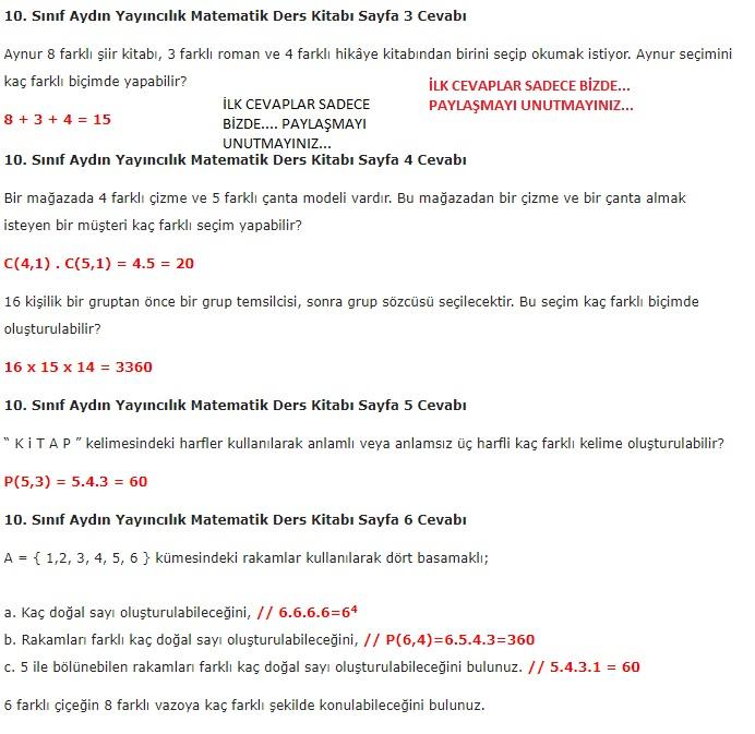 10. sınıf aydın yayınları matematik sayfa 3-4-5-6 cevapları