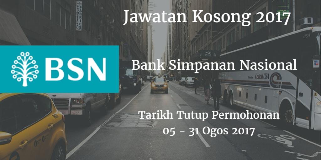 Jawatan Kosong BSN 05 - 31 Ogos 2017