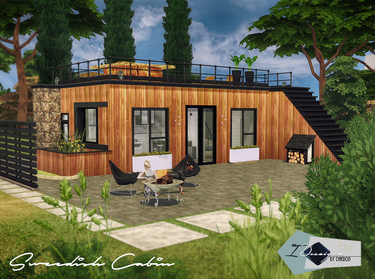 Modern wooden cabin sims 4 houses for House 4