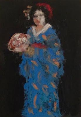 geisha on black in blue kimono holding a fan