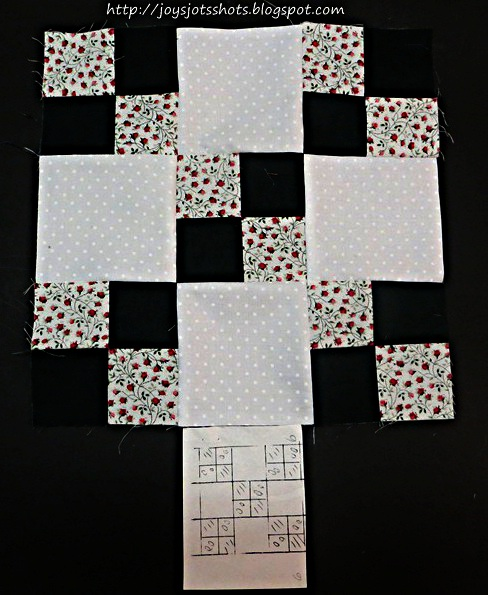 http://joysjotsshots.blogspot.com/2013/08/quilt-shot-block-7-4-in-9-patch.html